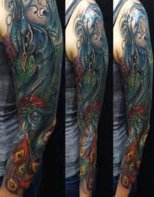 colored sleeve tattoos peacock sleeve color by mike demasi tattoos