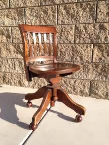 Small Wooden Desk Chair Antique Vintage Oak Wooden Swivel Office Desk Chair Tilt Ebay
