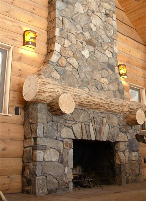 stone fire place rustic log cabin fireplace project with thin natural stone