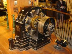 Electric Car Motor Current Above One Of The Original Tesla Electric Motors From 1888