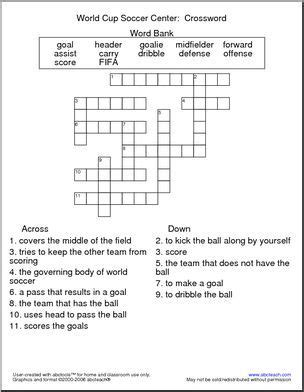 Crossword World Cup Soccer Elementary Created With