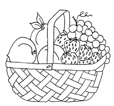 picnic coloring pages free printable fruits in picnic basket coloring page