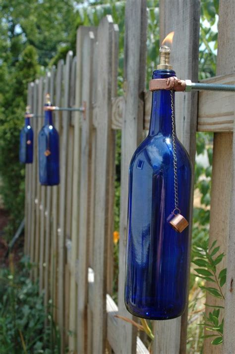 5 wine bottle tiki torches color choice of cobalt