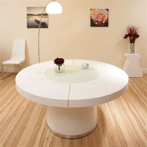 large  white gloss dining table glass lazy susan led