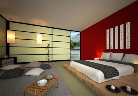 red bedroom accent wall japanese style bed design ideas in contemporary bedroom