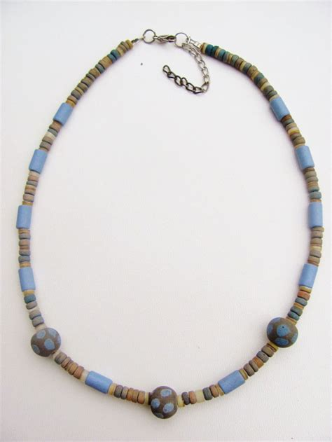 sky blue s surfer style beaded choker necklace unisex