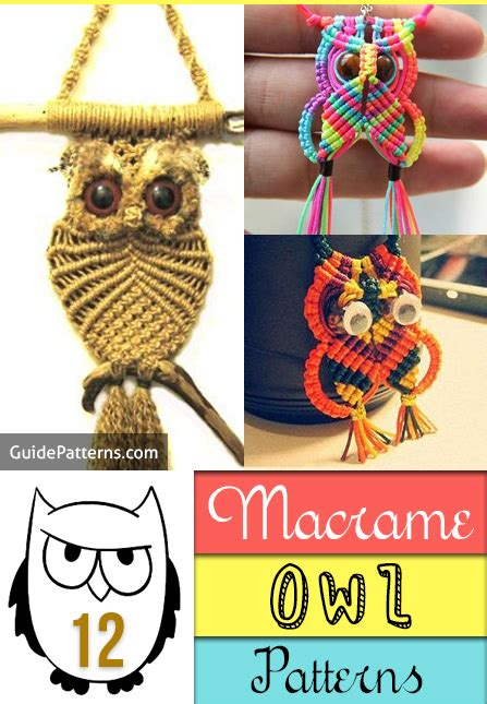 Macrame Guide - 12 macrame owl patterns guide patterns