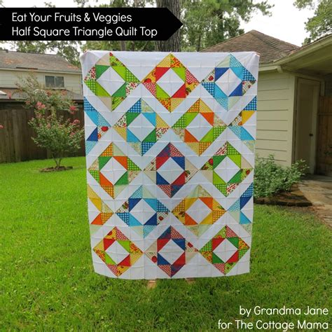 Half And Half Quilt by Eat Your Fruits And Veggies Half Square Triangle Quilt Top