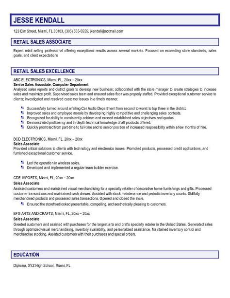 retail sle resume retail sales associate resume