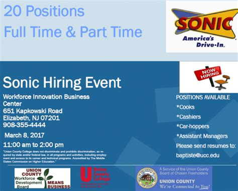 20 and part time available at sonic