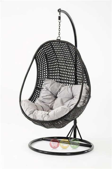 hanging outdoor chairs oahu outdoor hanging pod chair black rattan shop factory
