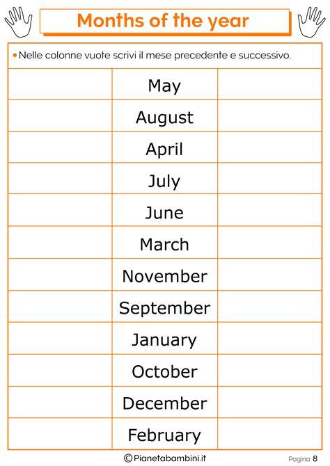 nomi di fiori in inglese i mesi in inglese per bambini schede didattiche da