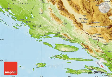 physical map of croatia physical map of split dalmatija