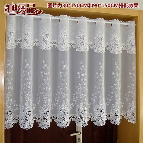 fabric kitchen curtains embroidered european french white lace curtains tube