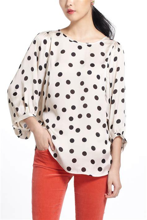 Blouse Motif Polkadot T2610 lyst walker dotty monochrome blouse in white