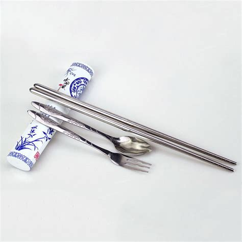 travel stainless steel fork chopsticks boxed spoon set