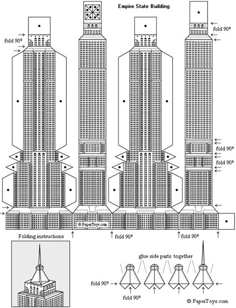 How To Make Paper Models Of Buildings - empire state building paper model free paper toys and