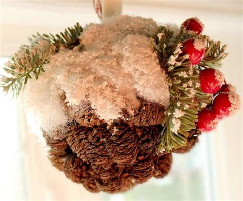 cone ornaments snowy pine cone ornament allfreechristmascrafts