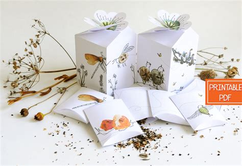 templates boxes for favors gifts seed packet favors gardening gift box template diy gifts