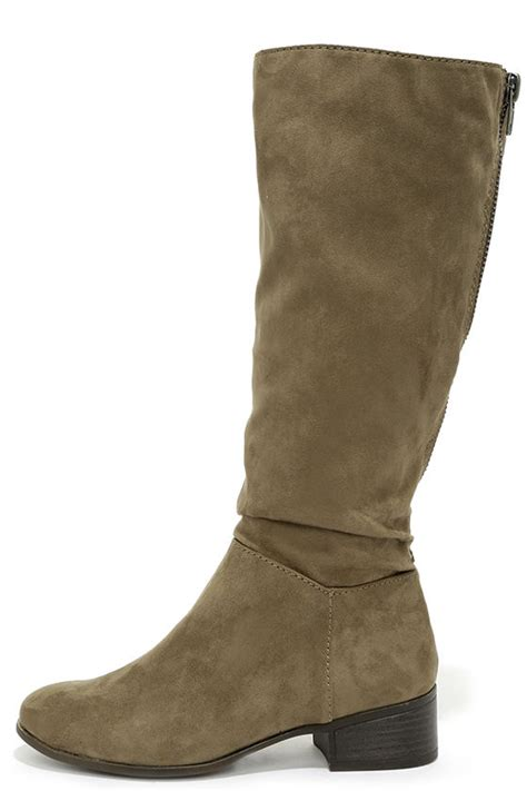 taupe boots suede boots knee high boots flat