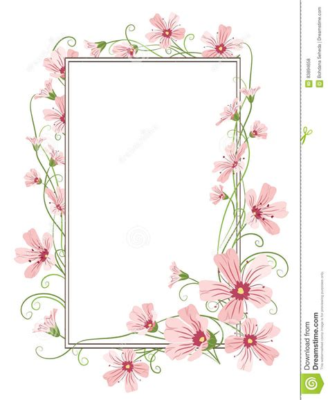 flower frame template pink gypsophila flowers border frame template stock vector