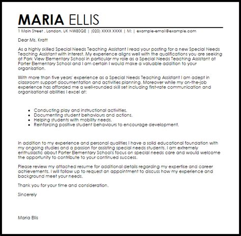 special needs teaching assistant cover letter sle