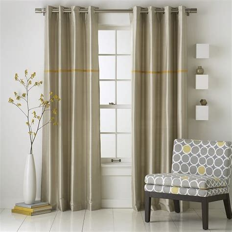 Window Curtain Panel Decorating Modern Stripe Silk Window Panel Modern Curtains By West Elm
