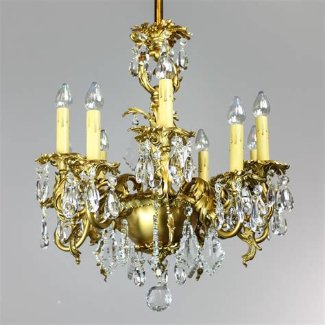 Gas Chandelier Gold Plated Rococo 1910 Converted Gas Chandelier 9 Light Modernism
