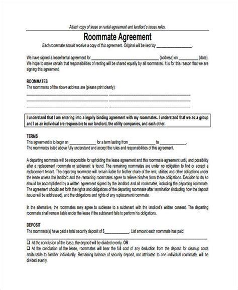 printable lease agreement virginia 8 sle roommate agreements free sle exle