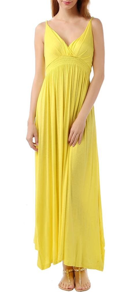 Dress Import Leemin Yellow us 14 26 plus size v neck maxi solid yellow dresses c1305