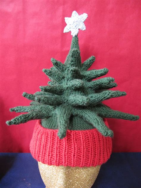 printed instructions christmas tree beanie hat knitting