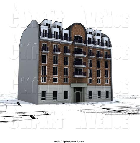 apartment building blueprints avenue clipart of a 3d apartment building on blueprints by