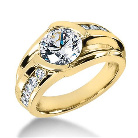 mens designer diamond ring 1.5 carat 18k gold g/vs