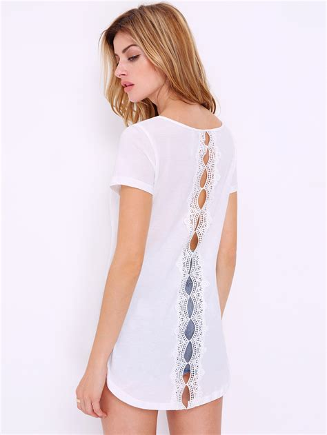 T Shirt Low And white sleeve with lace high low t shirt makemechic