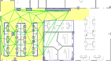 floor plan of the office initial reference grid and delaunay