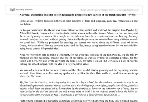 psycho essay psycho evaluation essay gcse media studies marked by teachers