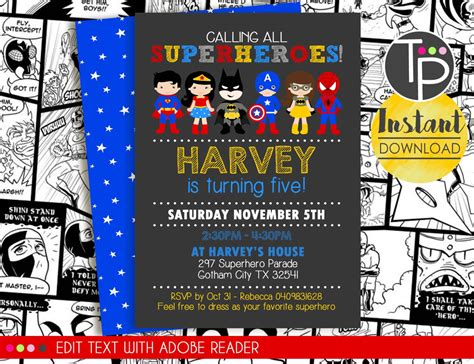 superhero invitation instant download superhero invitation