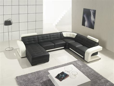 t139 modern black and white leather sectional sofa