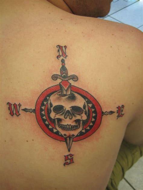 compass tattoo back shoulder dagger skull compass tattoo on right back shoulder