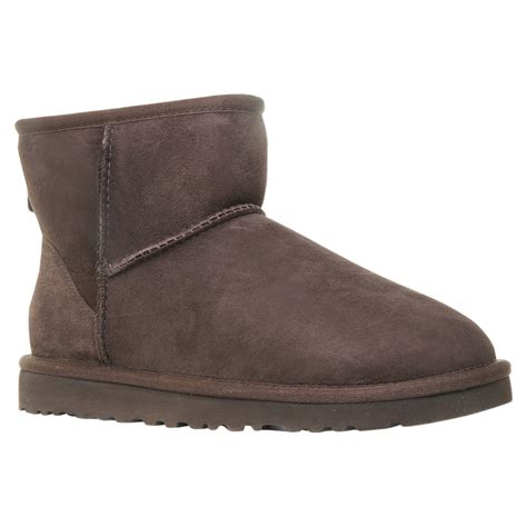 ugg classic mini ankle boots in brown chocolate