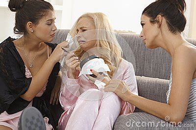 comforting crying girlfriend girls consoling crying friend at home royalty free stock