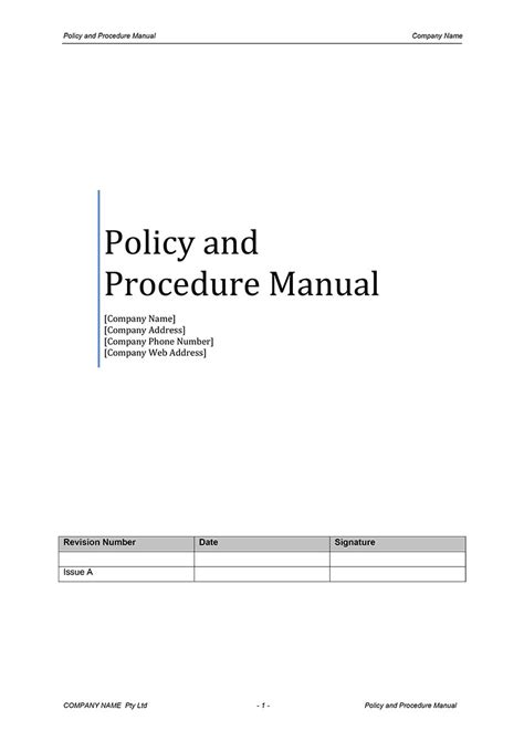 procedure manual template digital documents direct