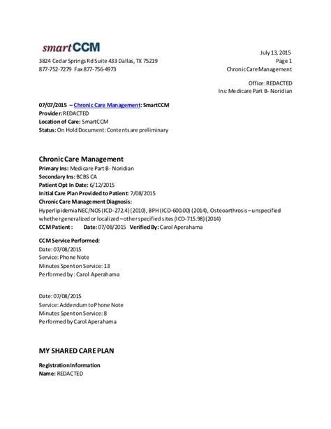 Chronic Care Managemen Template Chronic Care Management Template