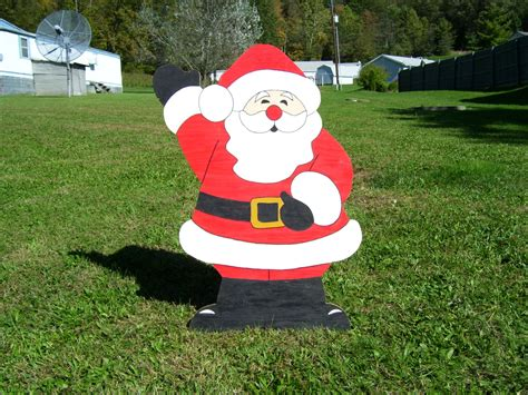 christmas waving santa claus outdoor wood yard art lawn