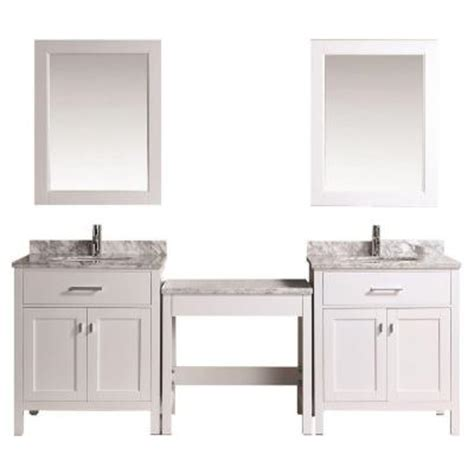 Home Depot Makeup Vanity by Design Element Two 30 In W X 22 In D Vanity In White With Marble Vanity Top In Carrara