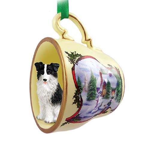 border collie ornament figurine christmas holiday teacup