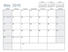 Calendar 2014 Template Printable by May 2016 Printable Calendar Pdf Word Excel
