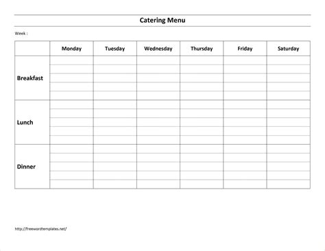 week menu template 7 weekly menu template procedure template sle