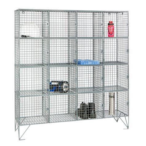 wire mesh locker with 16 compartments shelving industrial