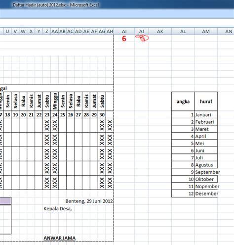 contoh format absensi dosen membuat daftar hadir otomatis dengan microsoft excel